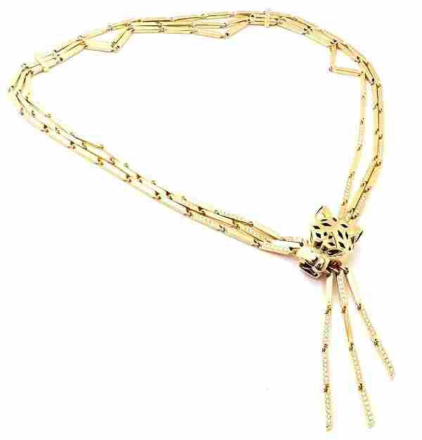 Cartier Panther 18k Gold Diamond Peridot Onyx Lacquer
