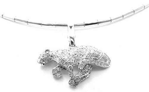 Cartier Panther Panthere 18k White Gold Diamond Pendant