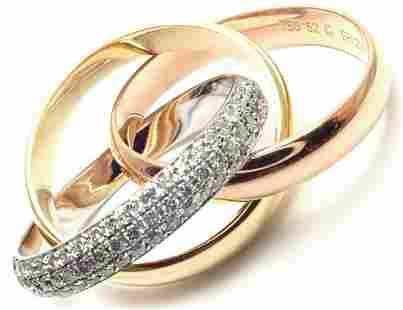 Cartier 18k Tri-Color Classic Diamond Trinity Band Ring