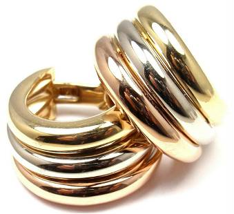 Cartier 18k Tri-Color Gold Large Size Trinity Hoop