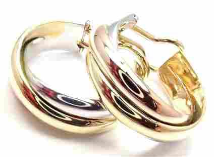 Cartier 18k Tri-Color Gold Medium Size Trinity Hoop
