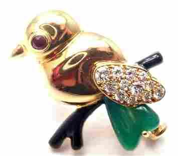 Cartier 18k Yellow Gold Diamond Onyx Ruby Chalcedony