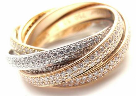 Cartier Diamond Three Color 18k Gold Two For Trinity