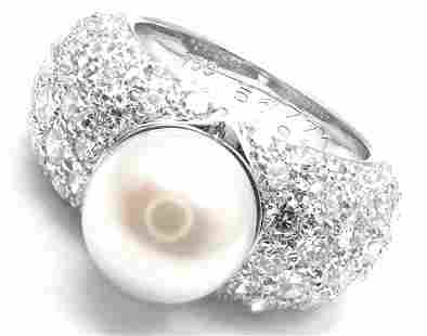 Cartier Juliette 18k White Gold Cultured Pearl Diamond
