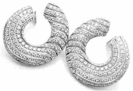 Cartier Neptune 18k White Gold Diamond Large Hoop