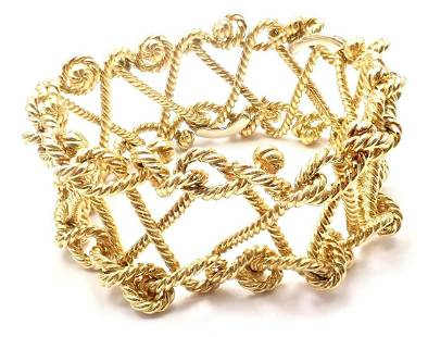 Verdura 18k Yellow Gold Twisted Rope Openwork Wide Link