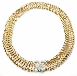 Verdura Double Crescent 18k Yellow Gold Diamond