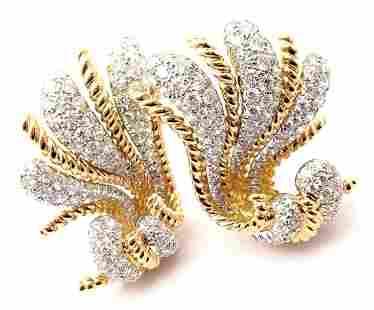 Verdura Fan 18k Yellow Gold Diamond Large Earrings