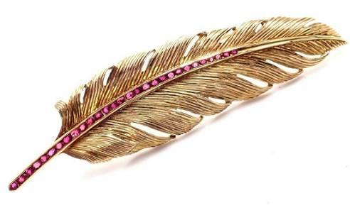 Vintage Raymond Yard 14k Yellow Gold Ruby Feather Pin