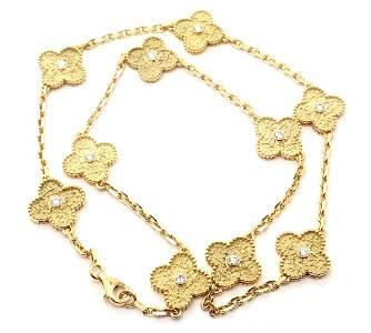 Van Cleef & Arpels 18k Gold Diamond Alhambra Necklace