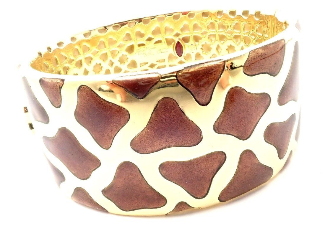 Roberto Coin Giraffe 18k Yellow Gold Enamel Bracelet