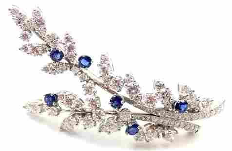 Tiffany & Co. Platinum Diamond Sapphire Flower Brooch