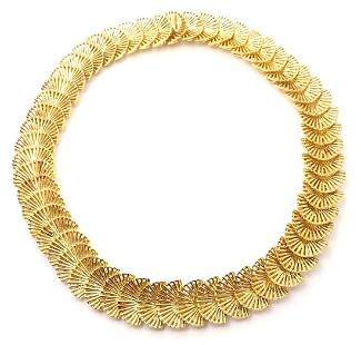 Tiffany & Co. 18k Yellow Gold Fan Shell Link Necklace