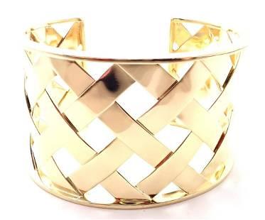 Verdura 18k Yellow Gold Criss Cross Wide Cuff Bracelet