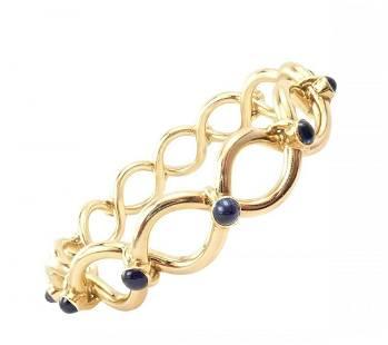 Tiffany & Co. 18k Yellow Gold Sapphire Bangle Bracelet