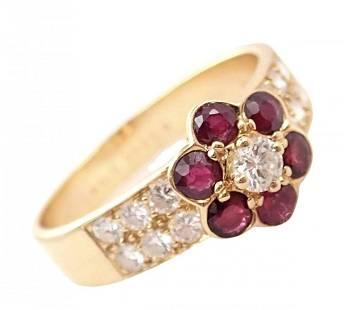 Van Cleef & Arpels 18k Gold Ruby Diamond Fleurette Ring