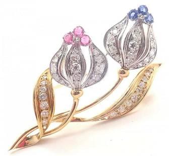 Mikimoto 18k Gold Diamond, Sapphire, and Ruby Brooch