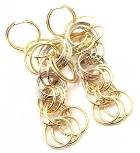 H. Stern 18k Yellow & White Gold Dangle Hoop Earrings