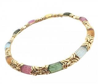 Bulgari 18k Yellow Gold Carved Pink Tourmaline Necklace
