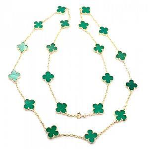 Van Cleef & Arpels 18k Alhambra Green Chalcedony Neck