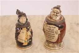 """2 Monk Figure german Steins 7"""" h & 6""""h"""