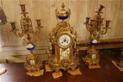 French Three Piece Clock Set Antique 19th Century