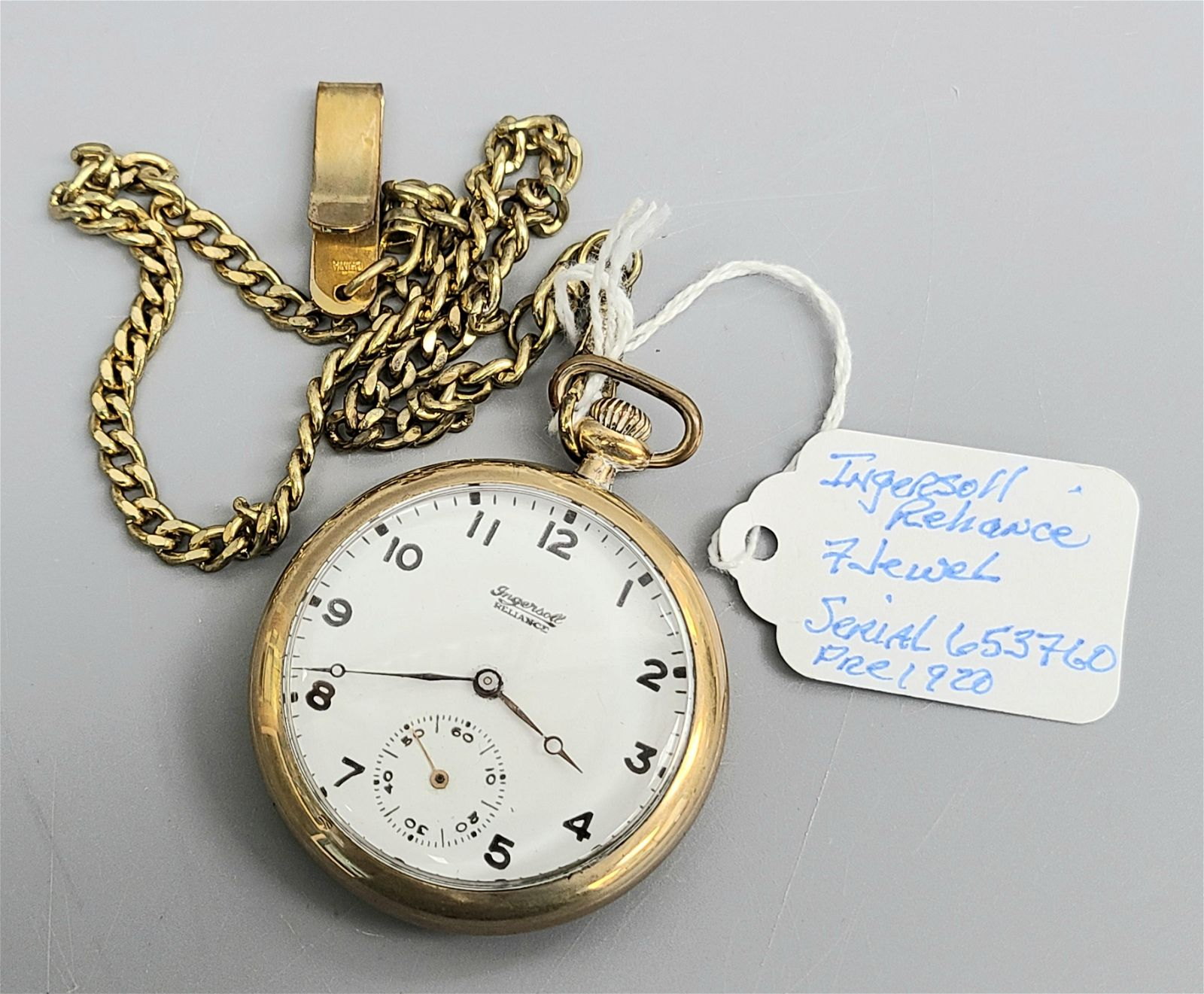INGERSOLL RELIANCE 7 JEWELS GOLD PLATED POCKET WATCH