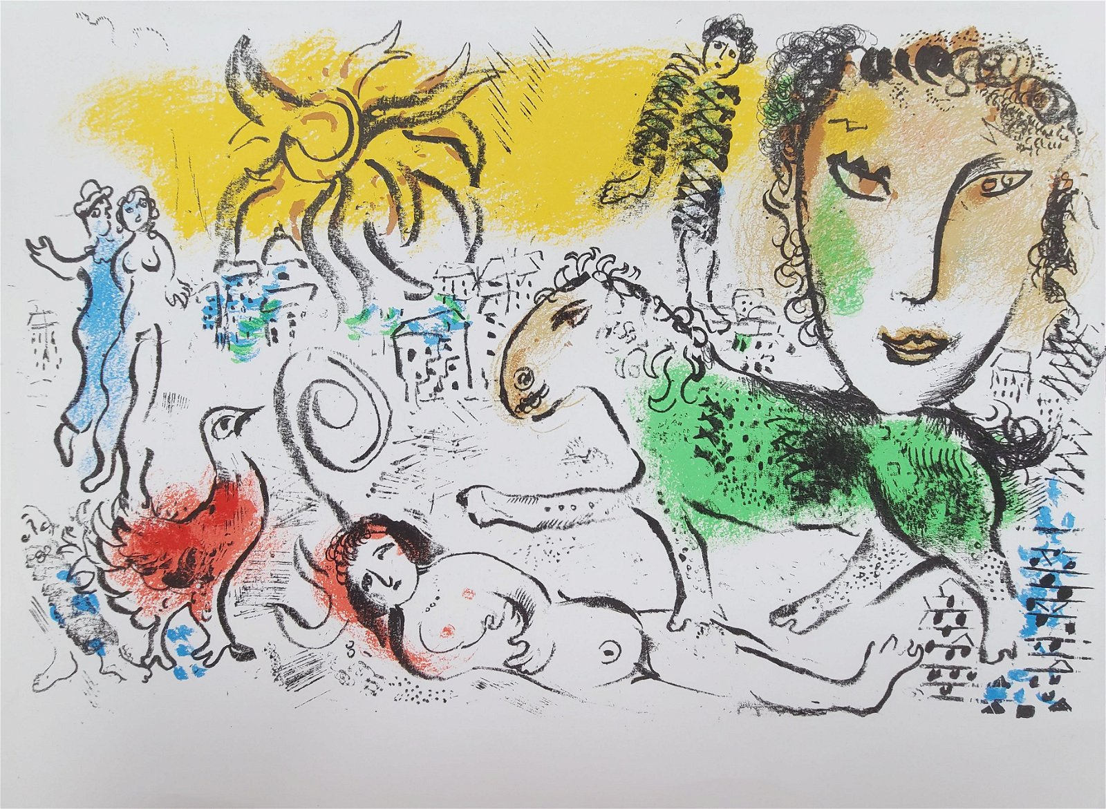 MARC CHAGALL COLOR LITHOGRAPH WITH CERTIFICATE