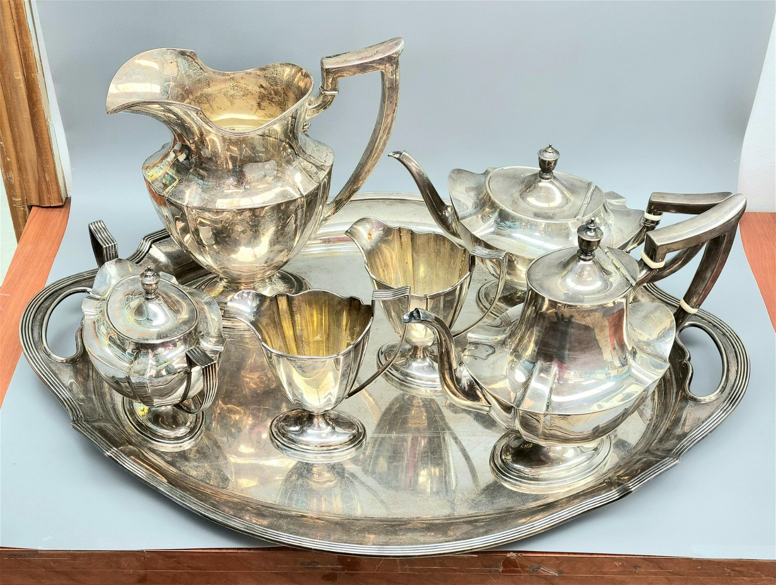 Gorham Sterling Silver Plymouth 7 Piece Tea Set With