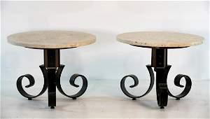 Travertine Top Designer Iron Side Tables
