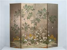 Robert Crowder four-panel Hand painted screen
