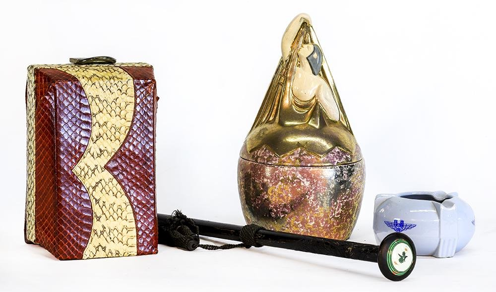French Art Deco Container, Snakeskin Purse and Ashtray