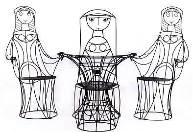John Risley Iron rod table with 3 figure chairs