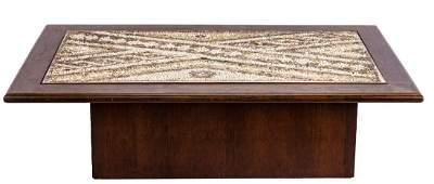 Vladimir Kagan Style Wood table with moasic tile work