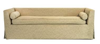 Billy Baldwin Custom Sofa, in celery fabric, skirted