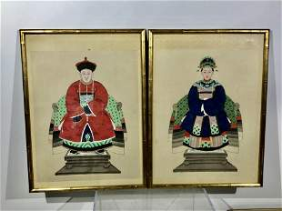 19th Century Chinese Portraits on Silk, Two