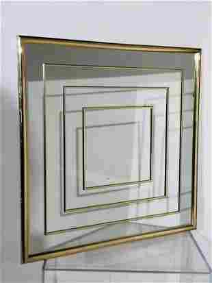 Mid-Century Modern Brass Mirror, 1980s
