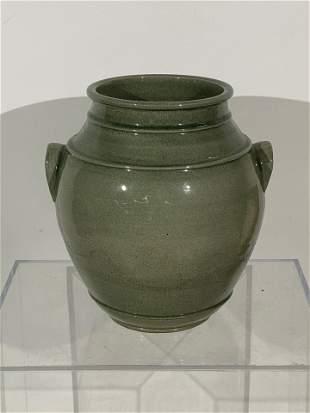 Green Glazed Ceramic Urn Form Planter