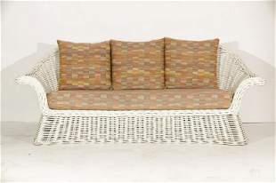 Michael Taylor Style Wicker Patio Sofa
