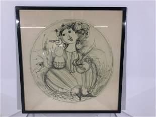 Bjorn Winblad Framed Pencil Drawing,