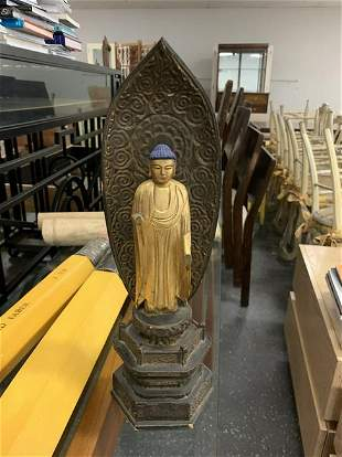 Antique Gilded Buddha Sculpture