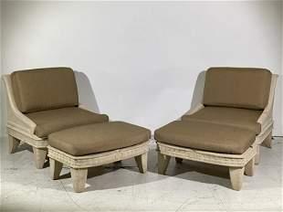 Michael Taylor Style Fiberglass Lounge Chairs, Pair