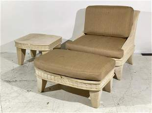 Michael Taylor Style Lounge Chair Ottoman & Table