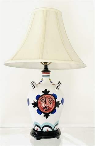 Picasso Style Italian Ceramic Lamp