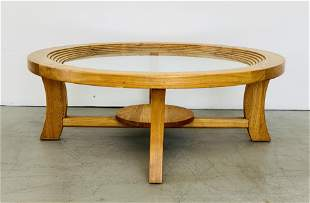 Paul Frankl Round Cocktail Table with Glass Top