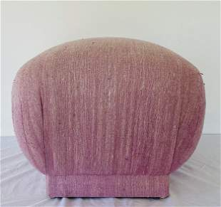 Karl Springer Style Silk Pouf One of Two