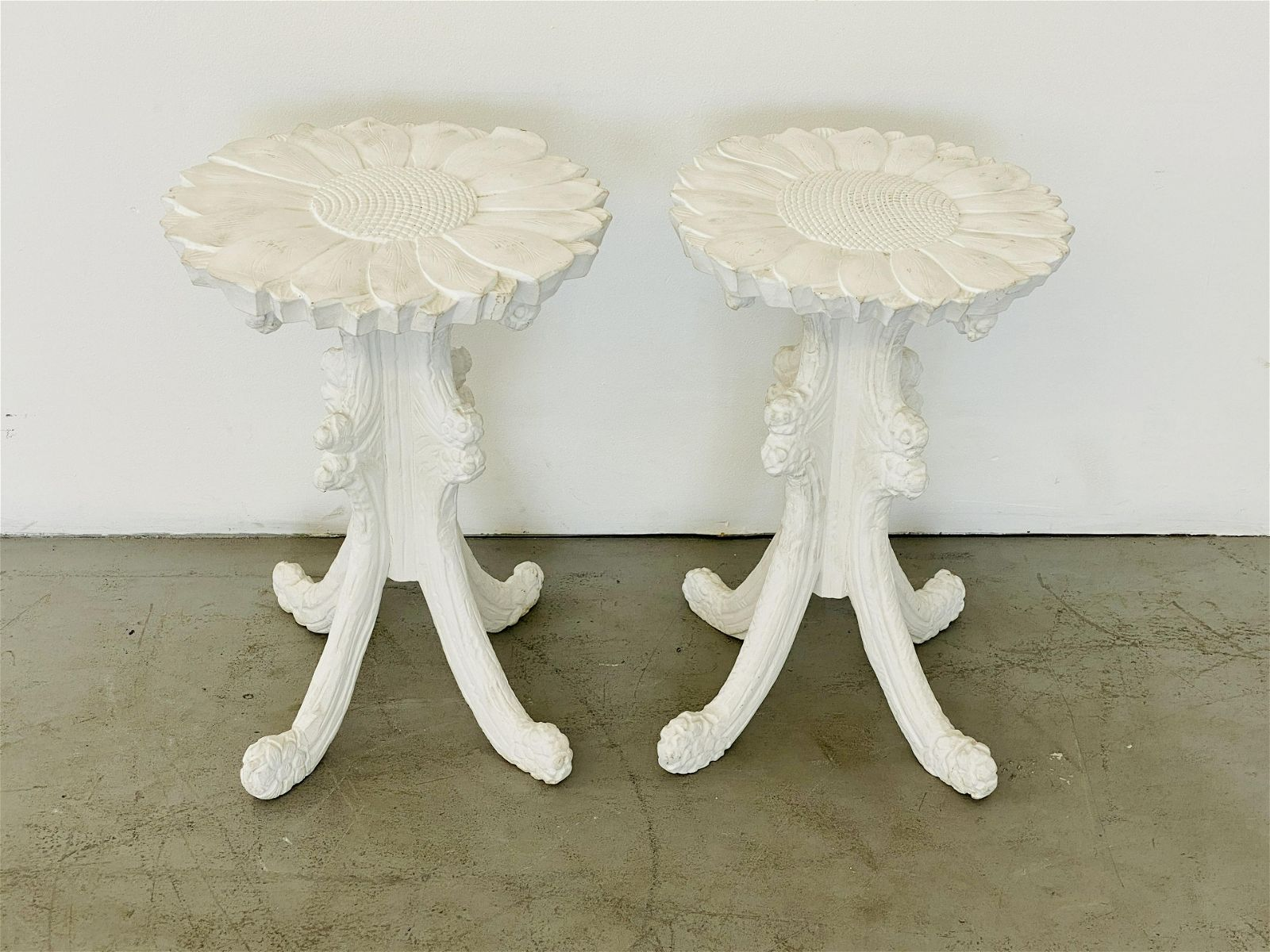 Victorian Hand Carved Sunflower Side Tables