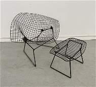 Harry Bertoia Wide Diamond Chair and Ottoman