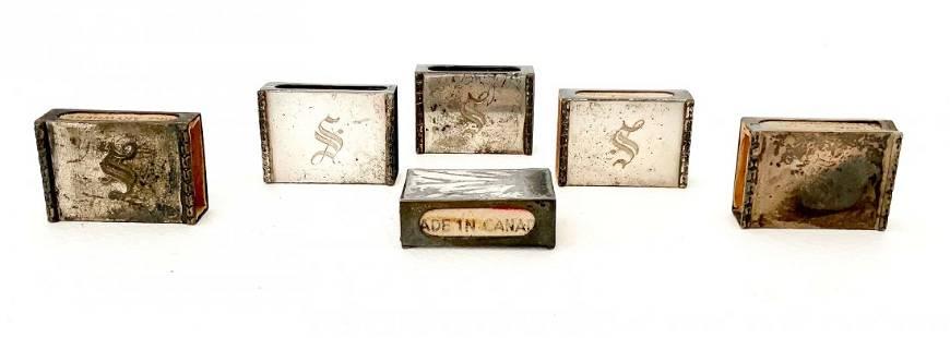 Set of 6 Sterling Silver Match Safes