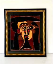 """Pablo Picasso Linocut """"Tete de Femme"""" Pencil Signed"""